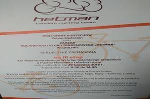 """Wójt Gminy Borzechów i Zarząd Kolarskiego Klubu Tandemowego ,,Hetman"""" w Lublinie zaprasza na III etap XXI Międzynarodowego Wyścigu Kolarskiego  Tandemów"""
