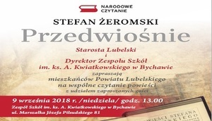 """Stefan Żeromski ,, Przedwiośnie"""" Narodowe czytanie 09.09.2018 r. godz. 13.00 Bychawa"""
