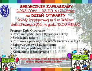 Dzień otwarty w Szkole Podstawowej nr 5 w Dęblinie
