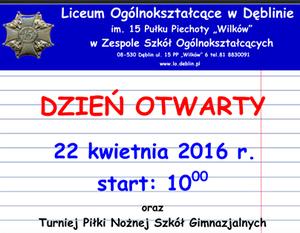Dzień Otwarty 22 kwietnia 2016