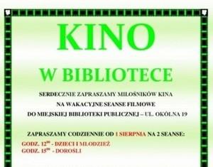 KINO W BIBLIOTECE - wakacyjne seanse filmowe