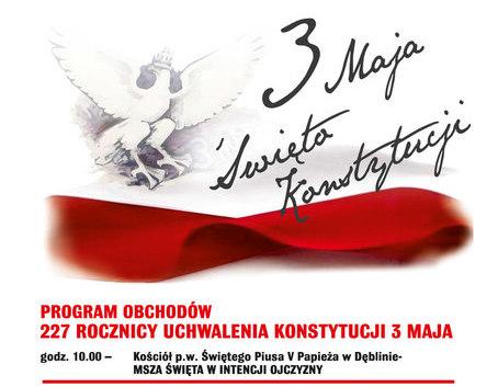 Zapraszamy na obchody 227 Rocznicy Uchwalenie Konstytucji 3 Maja