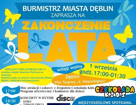 Burmistrz Miasta Dęblin zaprasza na ZAKOŃCZENIE LATA