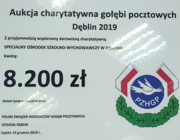 Aukcja charytatywna gołębi pocztowych Dęblin 2019