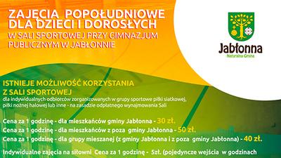Sala Sportowa przy Gimnazjum Publicznym w Jabłonnie zaprasza!