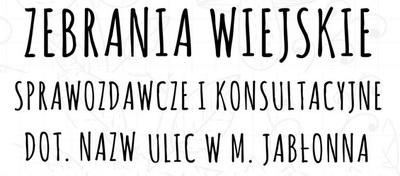 Zebrania wiejskie dot. zmiany nazwy miejscowości i nadania ulic w Jabłonnie