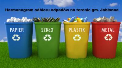 Harmonogram odbioru odpadów z terenu gm. Jabłonna na 2018 r.