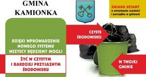 Nowy system gospodarowania odpadami komunalnymi  na terenie Gminy Kamionka