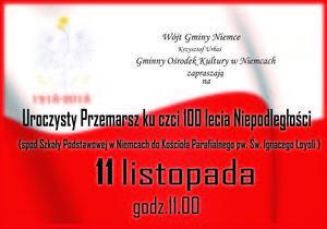 Uroczysty przemarsz ku czci 100 rocznicy Odzyskania Niepodległości przez Polskę