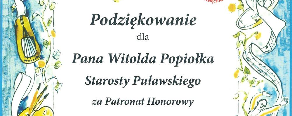 Podziękowanie dla Starosty Puławskiego od Prywatnej Szkoły Muzycznej I Stopnia w Nałęczowie