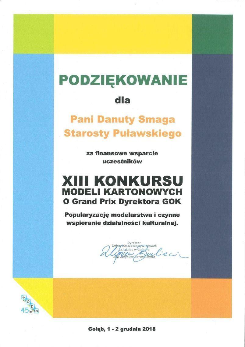 Podziękowanie za wsparcie XIII Konkursu modeli kartonowych o Grand Prix Dyrektora GOK w Gołębiu
