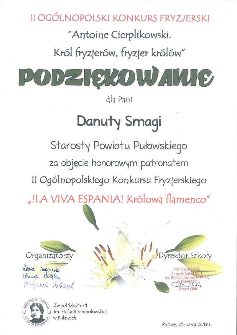 """Podziękowanie za objęcie honorowym patronatem II Ogólnopolskiego Konkursu Fryzjerskiego """"!LA VIVA ESPANIA! Królową Flamenco"""""""