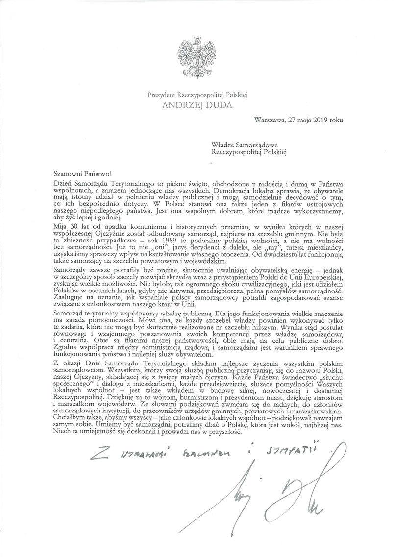 Dzień Samorządu Terytorialnego 2019 - list gratulacyjny od Prezydenta RP