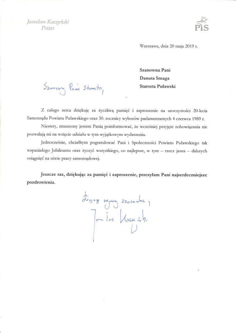 Jubileusz 20-lecia Samorządu Powiatu Puławskiego - list gratulacyjny od Prezesa Prawa i Sprawiedliwości