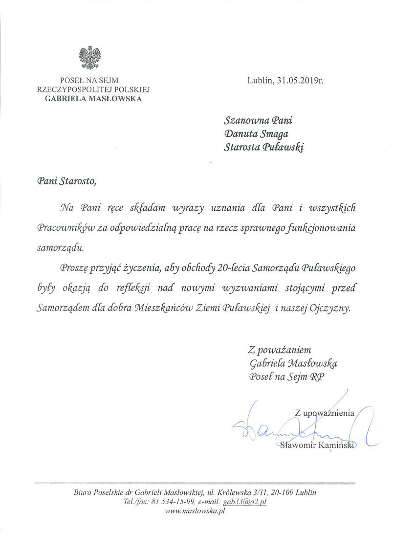 Jubileusz 20-lecia Samorządu Powiatu Puławskiego - list gratulacyjny od Posłanki Gabrieli Masłowskiej