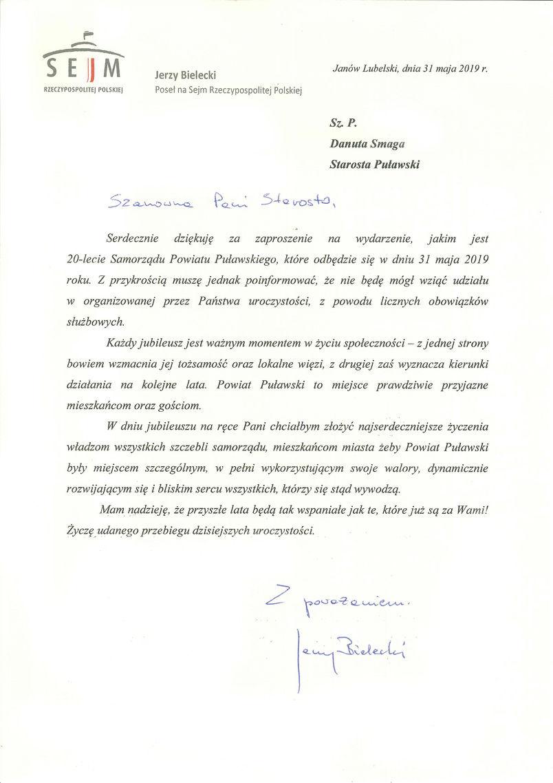 Jubileusz 20-lecia Samorządu Powiatu Puławskiego - list gratulacyjny od Posła Jerzego Bieleckiego