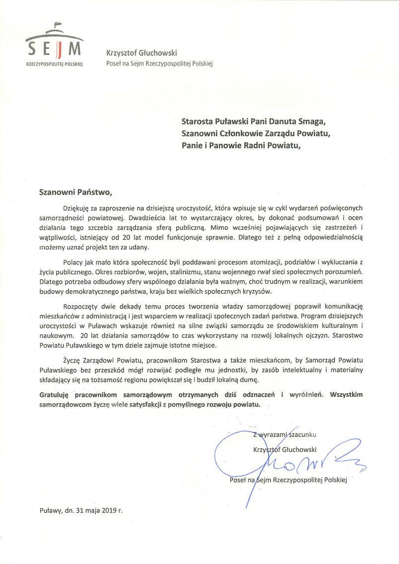 Jubileusz 20-lecia Samorządu Powiatu Puławskiego - list gratulacyjny od Posła Krzysztofa Głuchowskiego