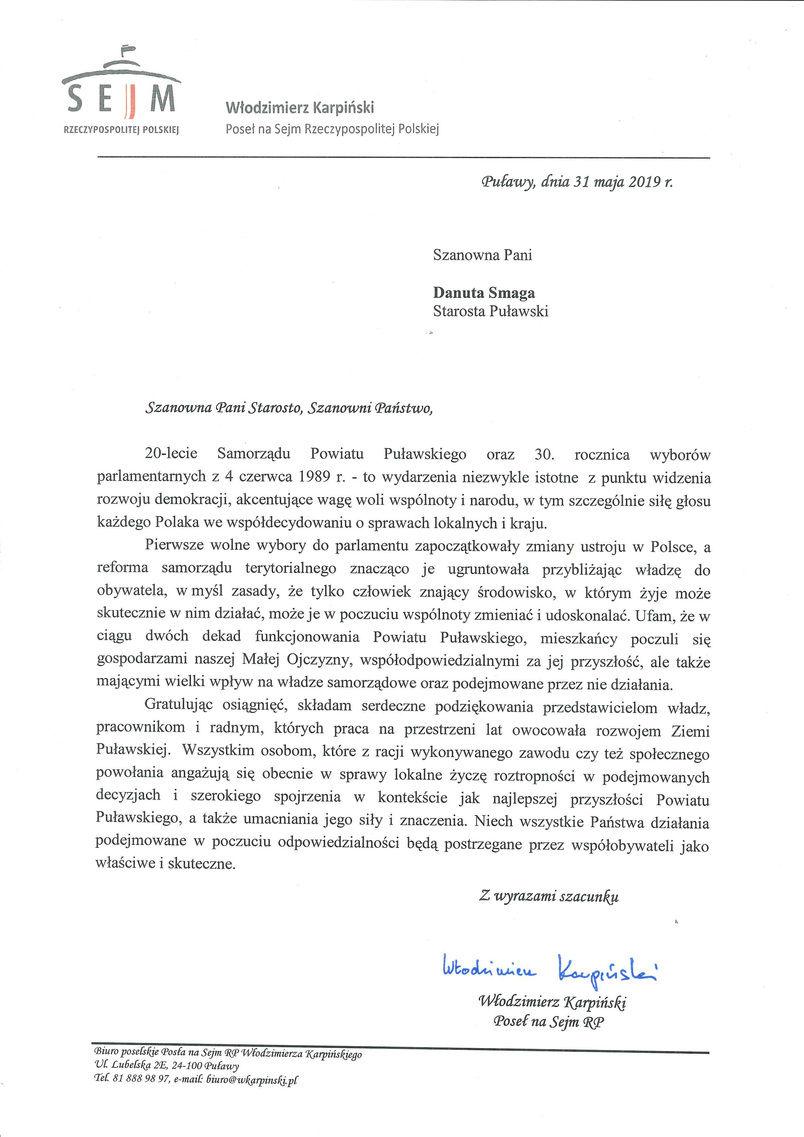 Jubileusz 20-lecia Samorządu Powiatu Puławskiego - list gratulacyjny od Posła Włodzimierza Karpińskiego