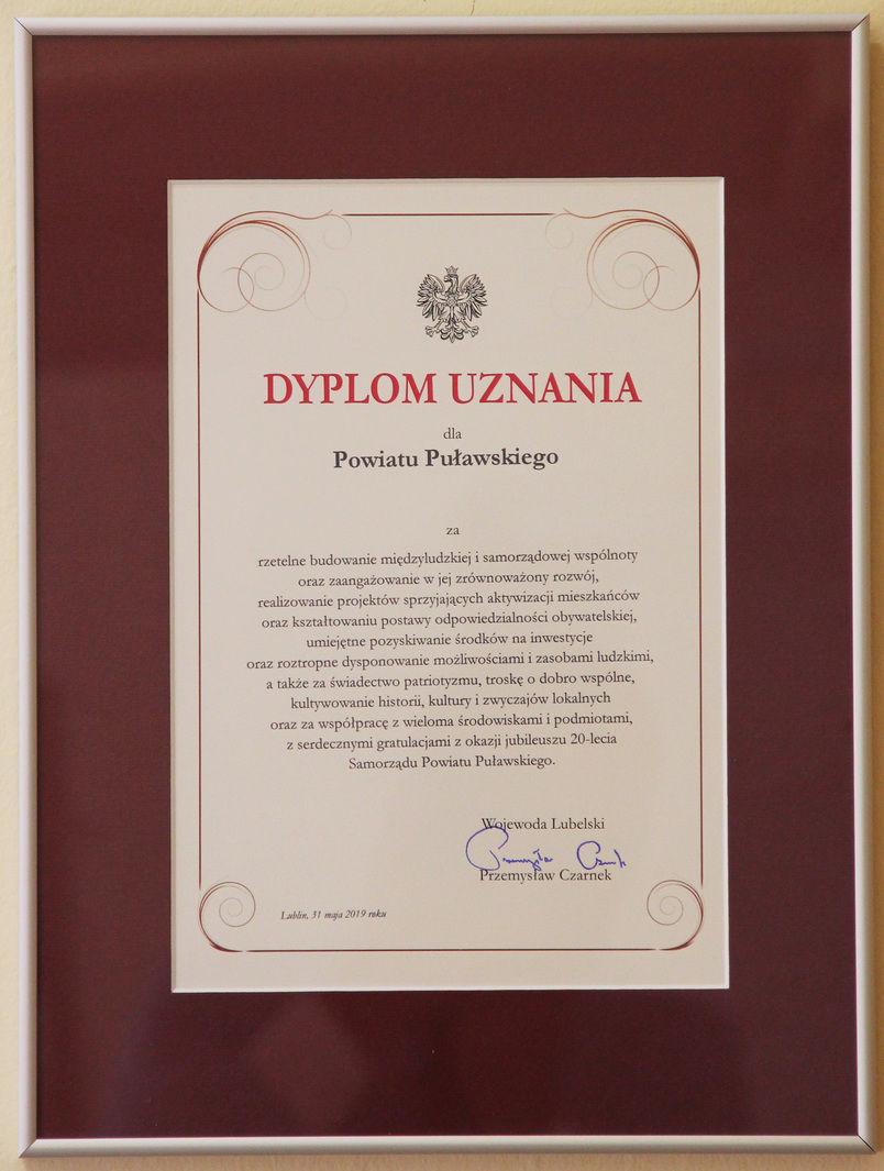 Jubileusz 20-lecia Samorządu Powiatu Puławskiego - dyplom uznania od Wojewody Lubelskiego