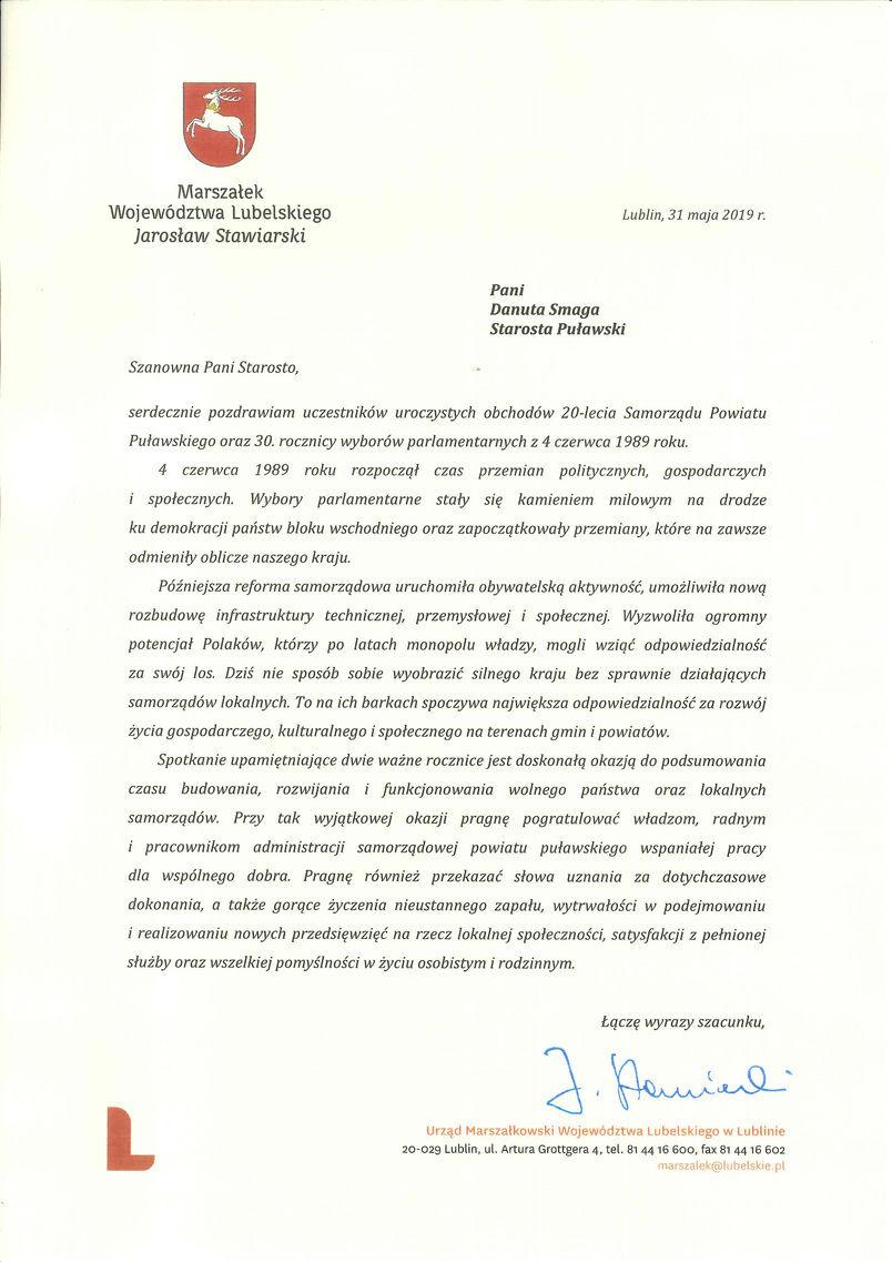Jubileusz 20-lecia Samorządu Powiatu Puławskiego - list gratulacyjny od Marszałka Województwa Lubelskiego