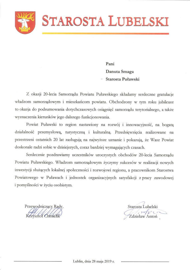 Jubileusz 20-lecia Samorządu Powiatu Puławskiego - list gratulacyjny od Starosty Lubelskiego
