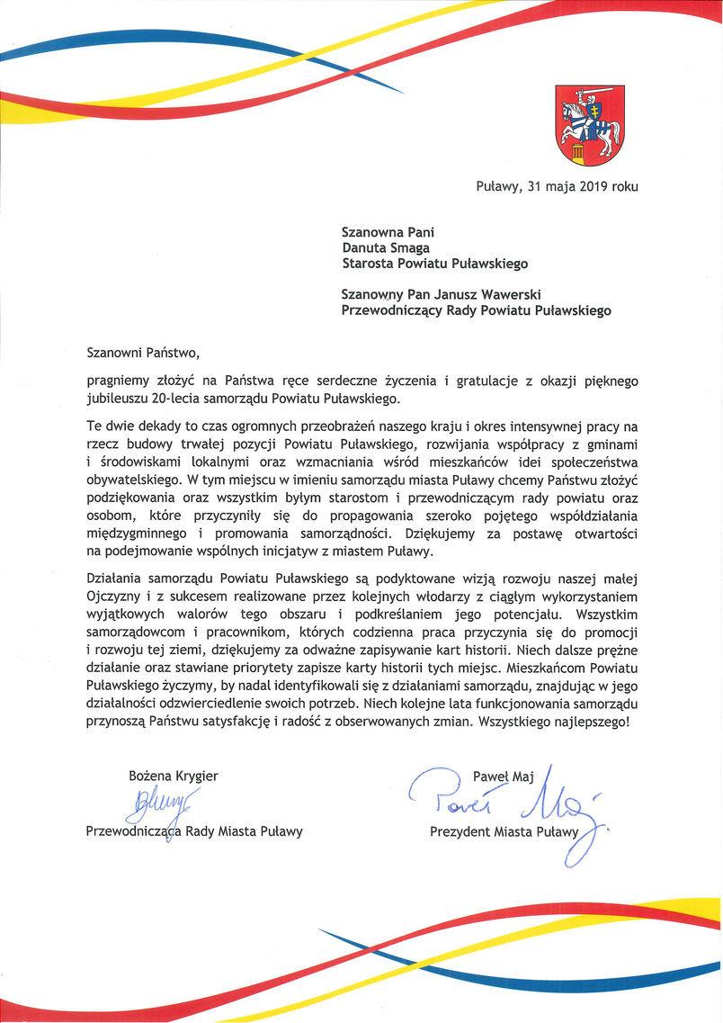 Jubileusz 20-lecia Samorządu Powiatu Puławskiego - list gratulacyjny od władz samorządowych Miasta Puławy