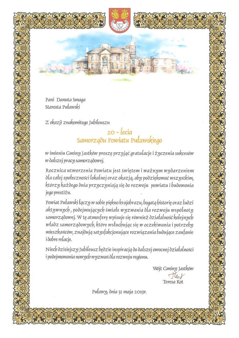 Jubileusz 20-lecia Samorządu Powiatu Puławskiego - list gratulacyjny od Wójta Gminy Jastków