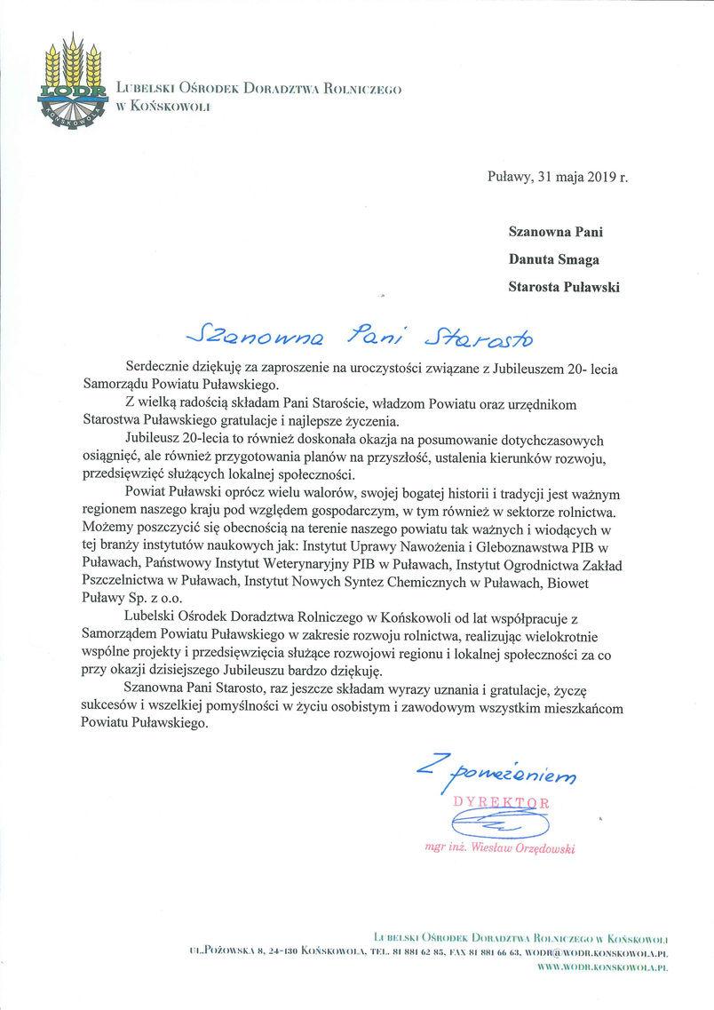 Jubileusz 20-lecia Samorządu Powiatu Puławskiego - list gratulacyjny od Dyrektora LODR w Końskowoli