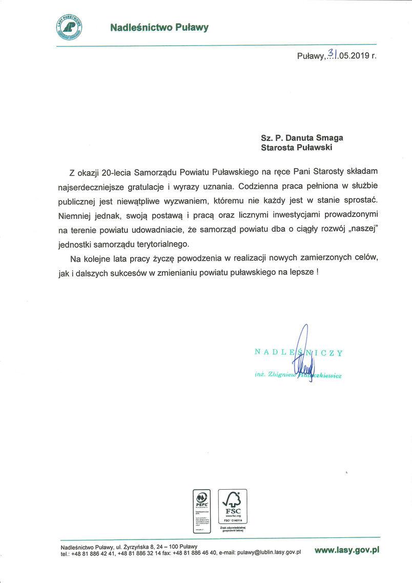 Jubileusz 20-lecia Samorządu Powiatu Puławskiego - list gratulacyjny od Nadleśniczego Nadleśnictwa Puławy