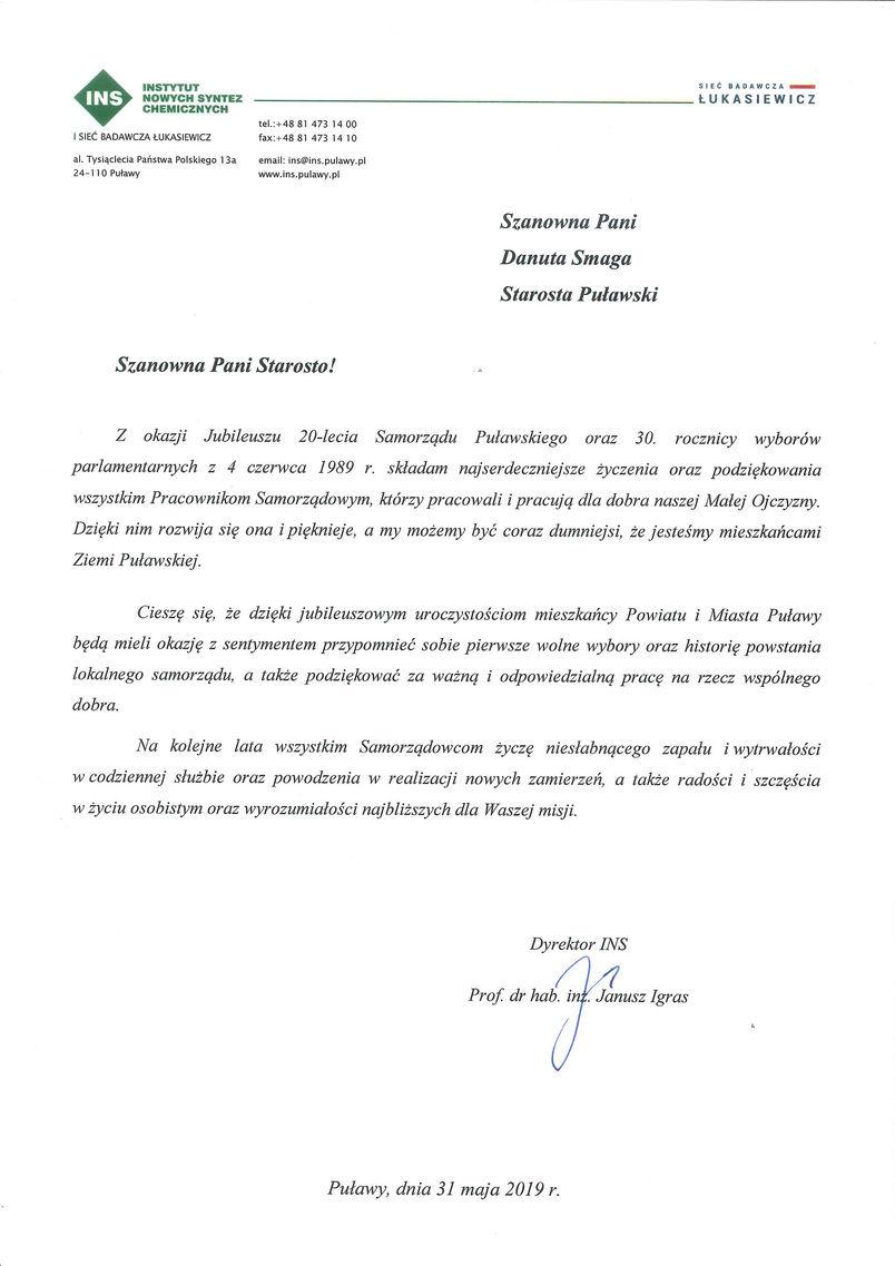 Jubileusz 20-lecia Samorządu Powiatu Puławskiego - list gratulacyjny od Dyrektora Instytutu Nowych Syntez Chemicznych w Puławach