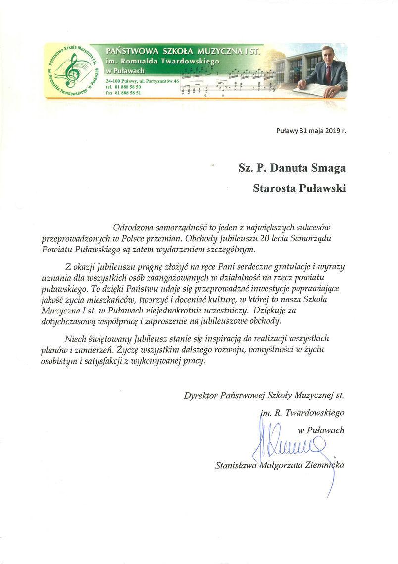 Jubileusz 20-lecia Samorządu Powiatu Puławskiego - list gratulacyjny od Dyrektora Państwowej Szkoły Muzycznej w Puławach