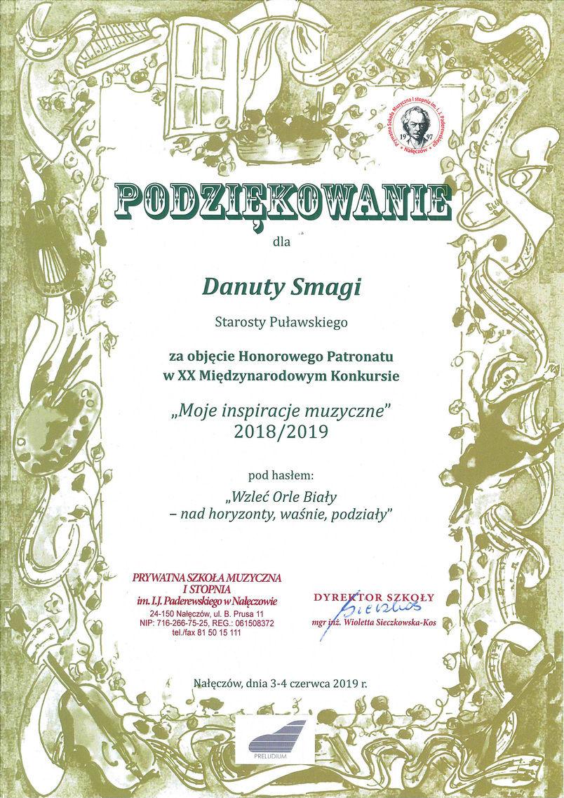"""Podziękowanie dla Starosty Danuty Smagi za objęcie honorowym patronatem konkursu """"Moje inspiracje muzyczne"""""""