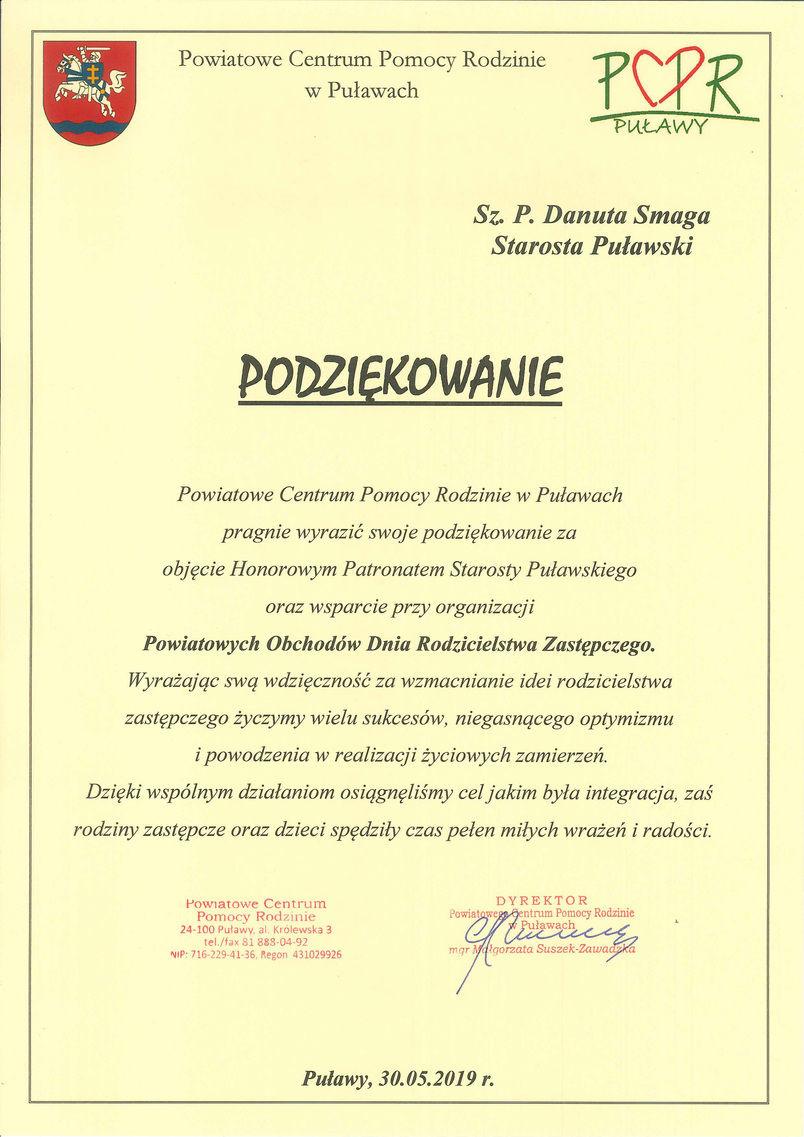 Podziękowanie dla Starosty Danuty Smagi za objęcie honorowym patronatem Powiatowych Obchodów Dnia Rodzicielstwa Zastępczego