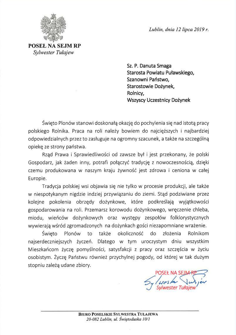 Dożynki Powiatu Puławskiego - Kurów 2019 - list gratulacyjny od Posła na Sejm RP Sylwestra Tułajewa