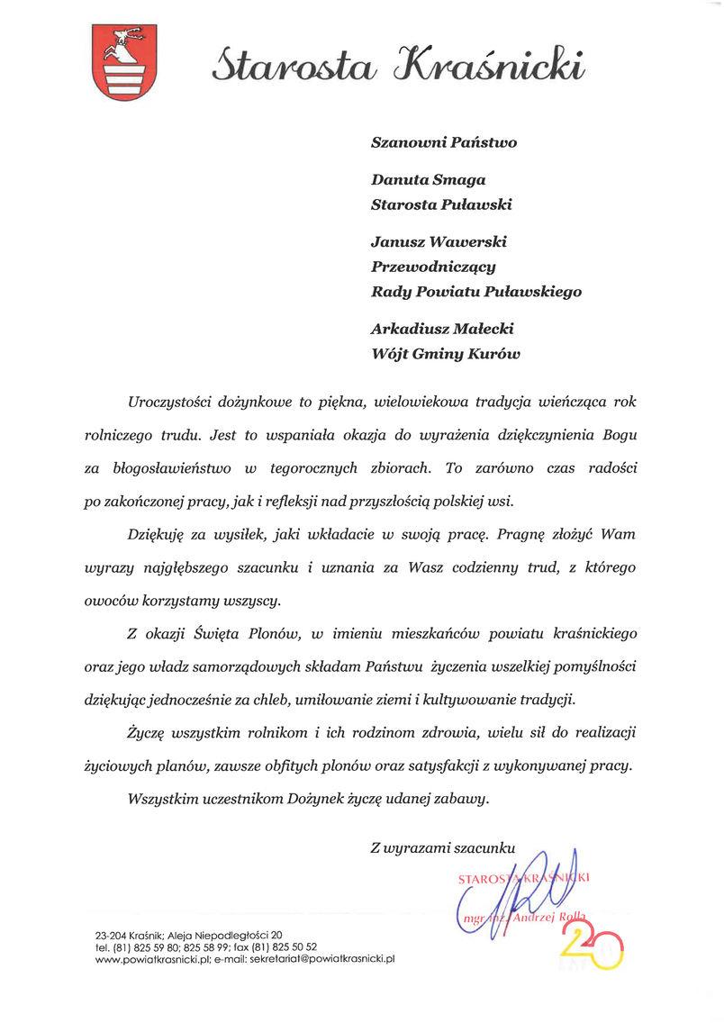 Dożynki Powiatu Puławskiego - Kurów 2019 - list gratulacyjny od Starosty Kraśnickiego Andrzeja Rolli