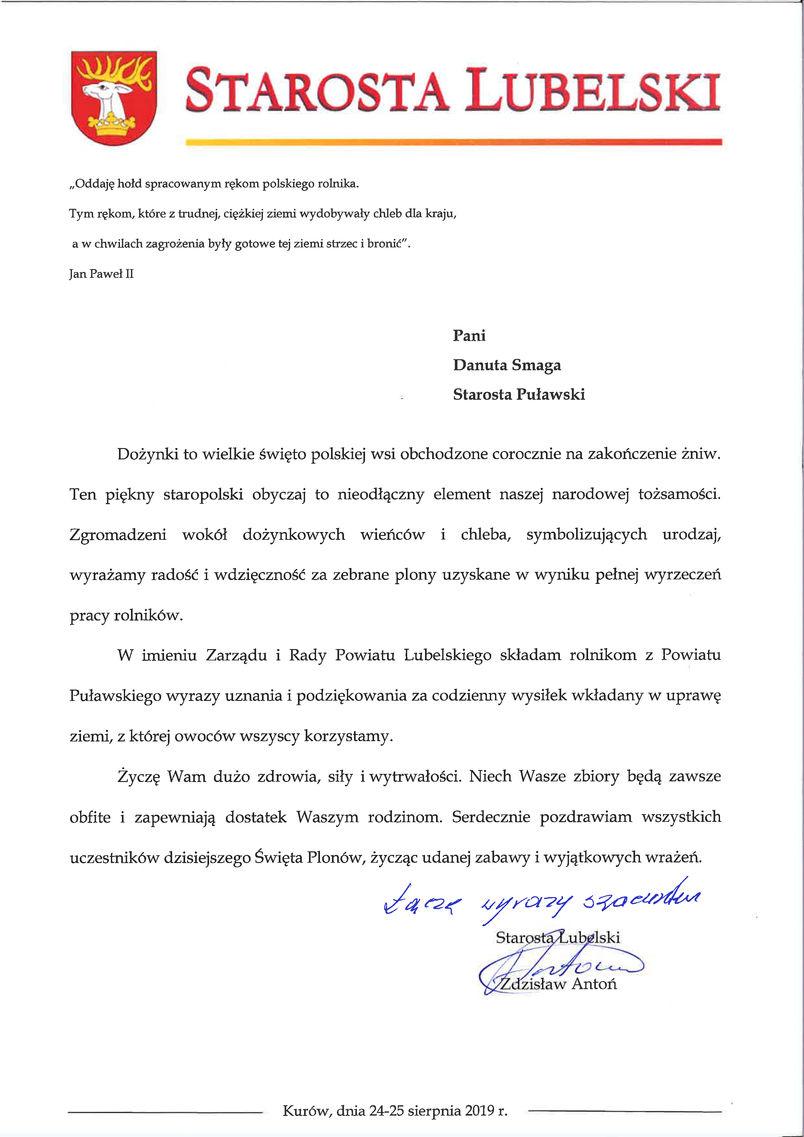 Dożynki Powiatu Puławskiego - Kurów 2019 - list gratulacyjny od Starosty Lubelskiego Zdzisława Antonia
