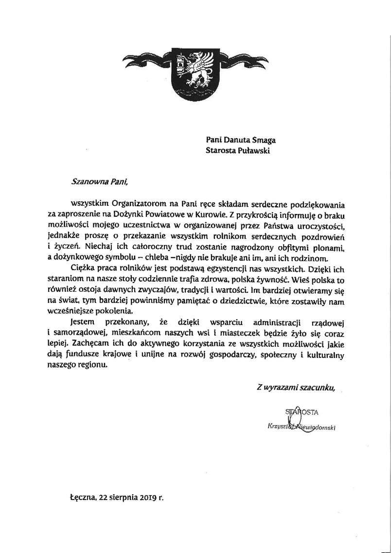 Dożynki Powiatu Puławskiego - Kurów 2019 - list gratulacyjny od Starosty Łęczyńskiego Krzysztofa Niewiadomskiego