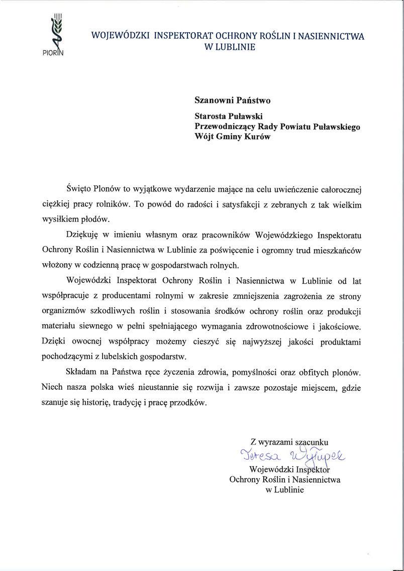 Dożynki Powiatu Puławskiego - Kurów 2019 - list gratulacyjny od Wojewódzkiego Inspektora Ochrony Roślin i Nasiennictwa w Lublinie Teresy Wyłupek