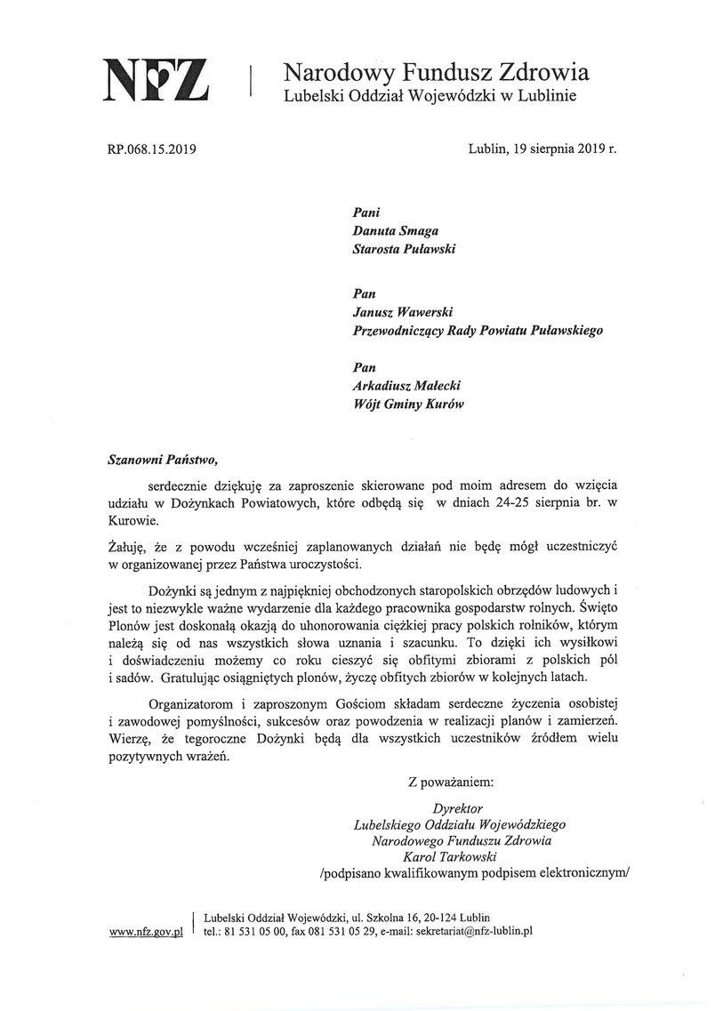 Dożynki Powiatu Puławskiego - Kurów 2019 - list gratulacyjny od Dyrektora Lubelskiego Oddziału NFZ Karola Tarkowskiego