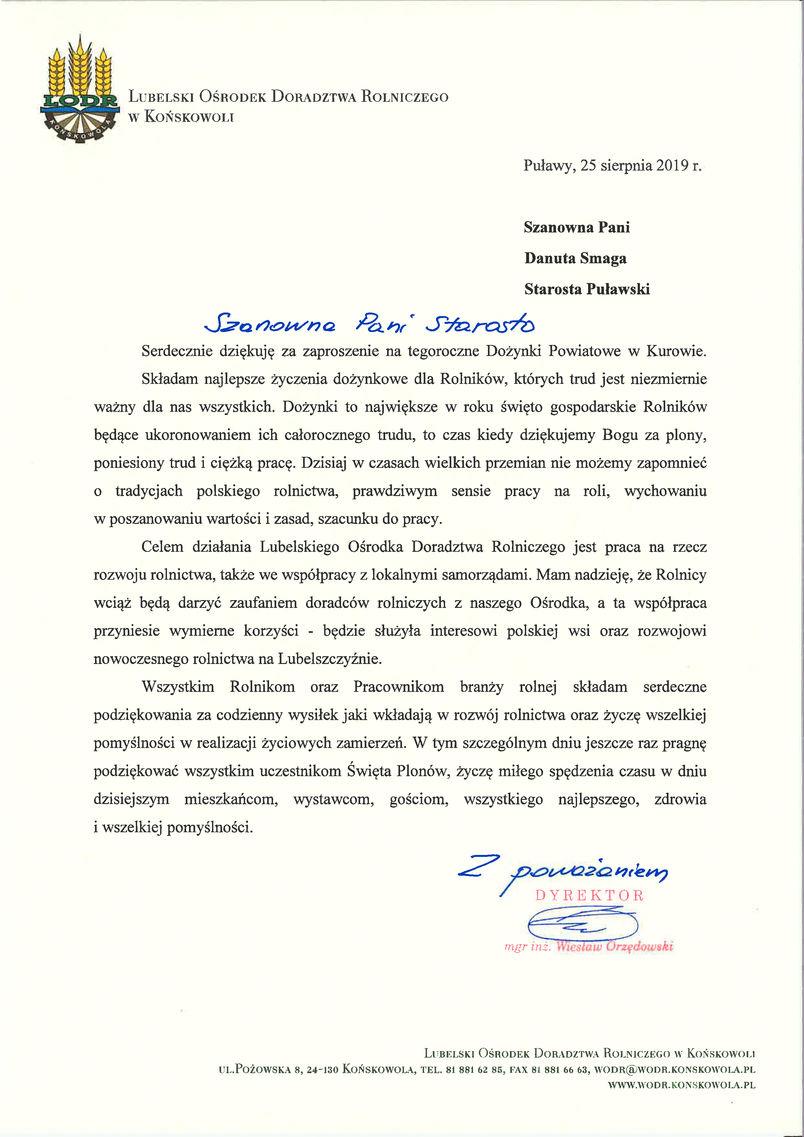 Dożynki Powiatu Puławskiego - Kurów 2019 - list gratulacyjny od Dyrektora LODR w Końskowoli Wiesława Orzędowskiego