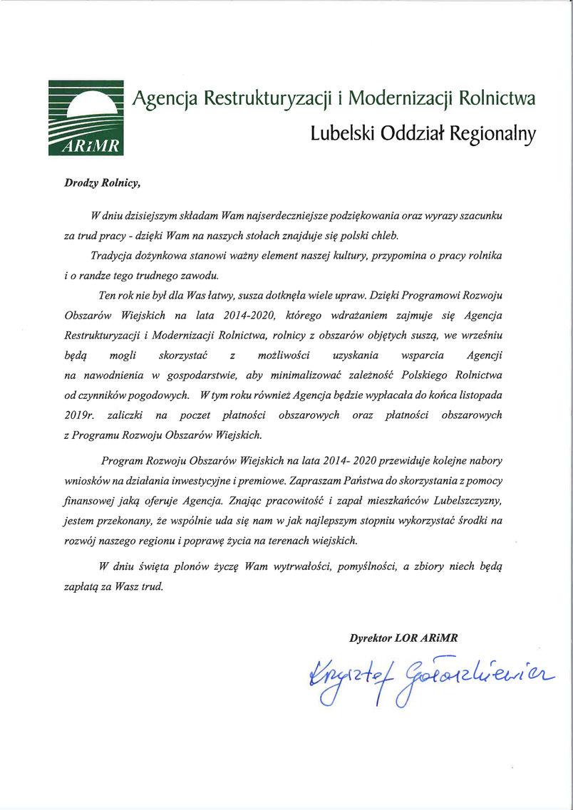 Dożynki Powiatu Puławskiego - Kurów 2019 - list gratulacyjny od Dyrektora Lubelskiego Oddziału Regionalnego ARiMR Krzysztofa Gałaszkiewicza