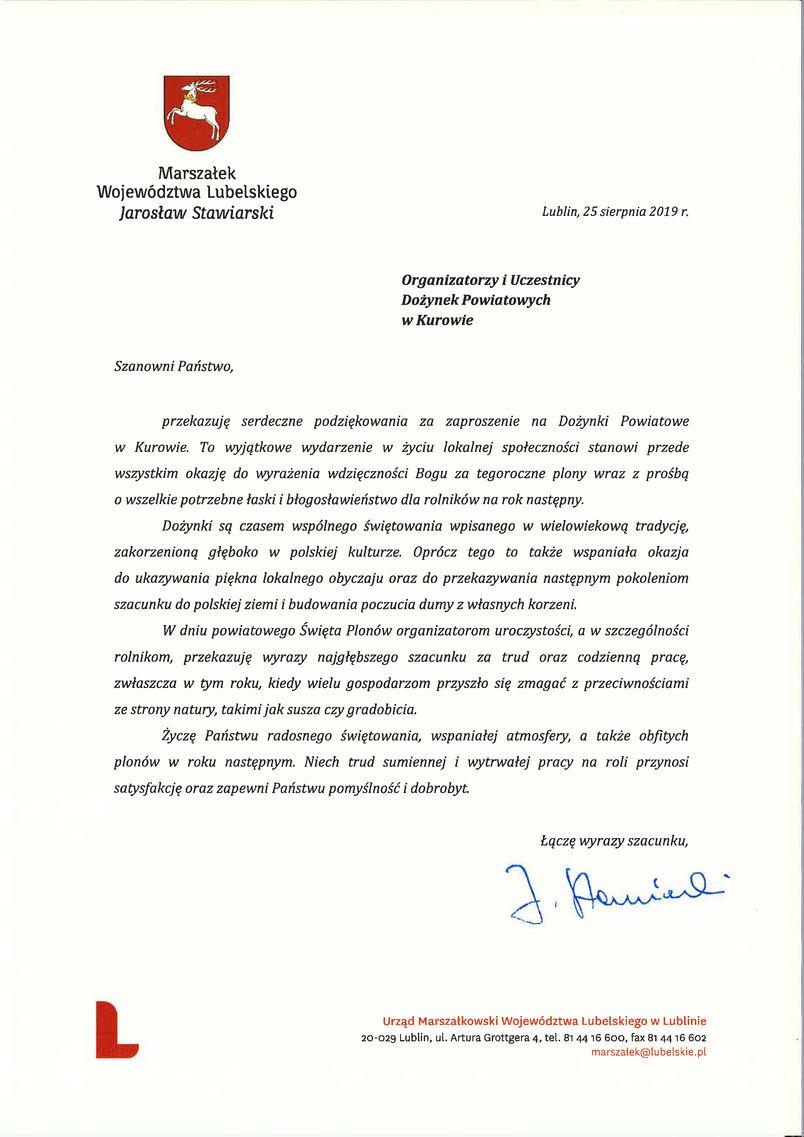 Dożynki Powiatu Puławskiego - Kurów 2019 - list gratulacyjny od Marszałka Województwa Lubelskiego Jarosława Stawiarskiego