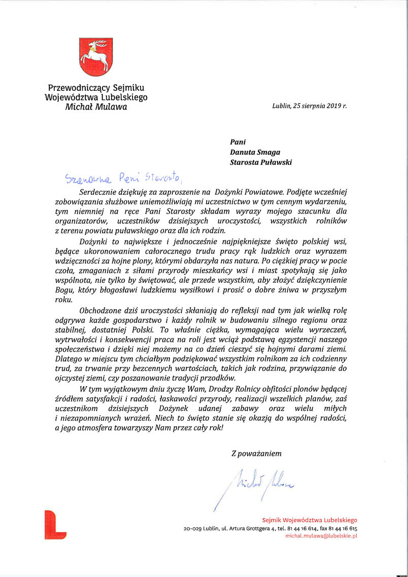 Dożynki Powiatu Puławskiego - Kurów 2019 - list gratulacyjny od Przewodniczącego Sejmiku Województwa Lubelskiego Michała Mulawy