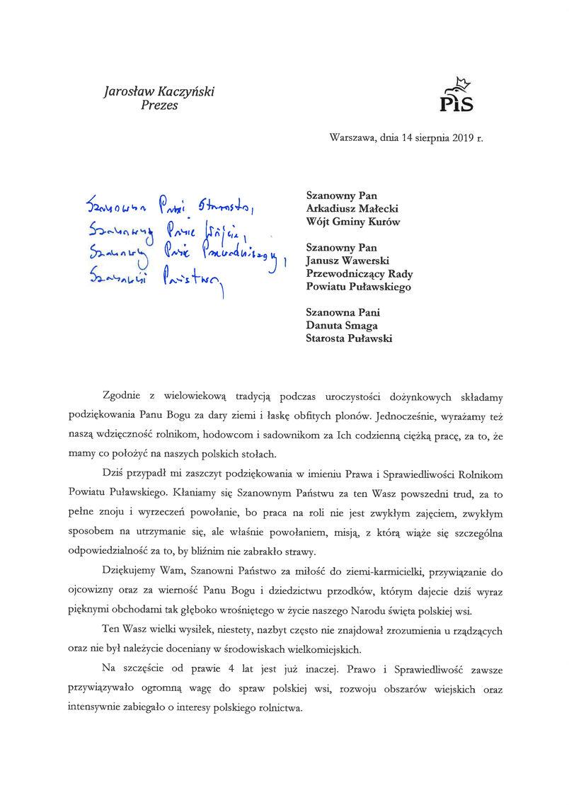 Dożynki Powiatu Puławskiego - Kurów 2019 - list gratulacyjny od Prezesa Prawa i Sprawiedliwości Jarosława Kaczyńskiego