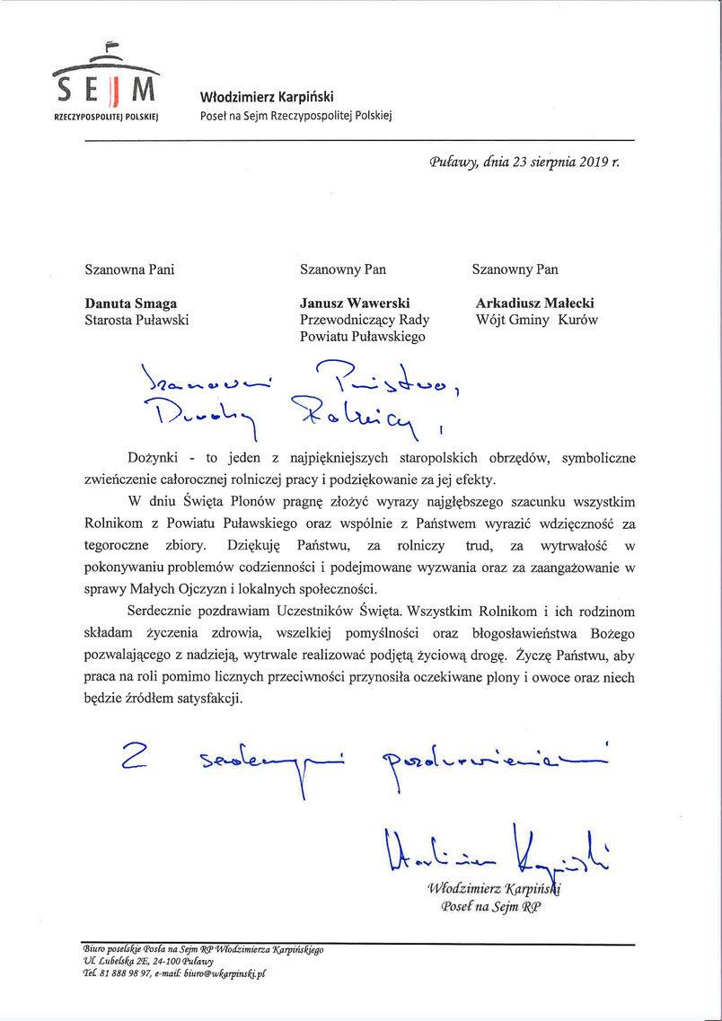 Dożynki Powiatu Puławskiego - Kurów 2019 - list gratulacyjny od Posła na Sejm RP Włodzimierza Karpińskiego