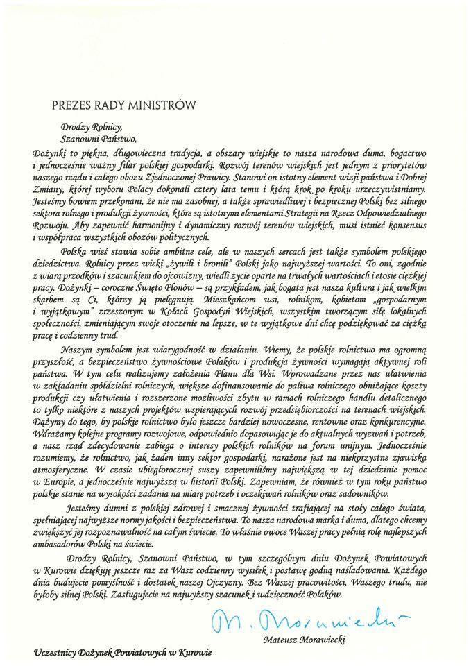 Dożynki Powiatu Puławskiego - Kurów 2019 - list gratulacyjny od Prezesa Rady Ministrów Mateusza Morawieckiego
