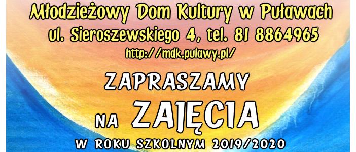 Zajęcia w MDK w roku szkolnym 2019/2020