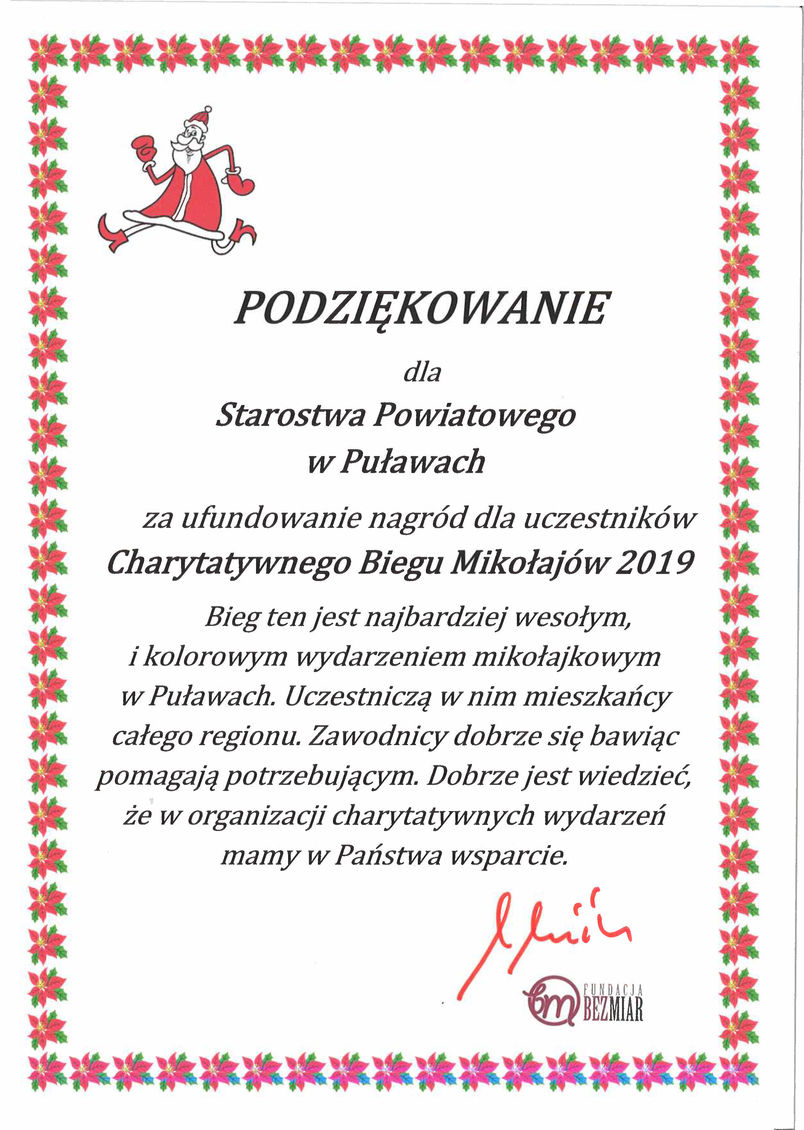 Podziękowanie dla Starostwa Powiatowego w Puławach za wsparcie organizacji Charytatywnego Biegu Mikołajów 2019