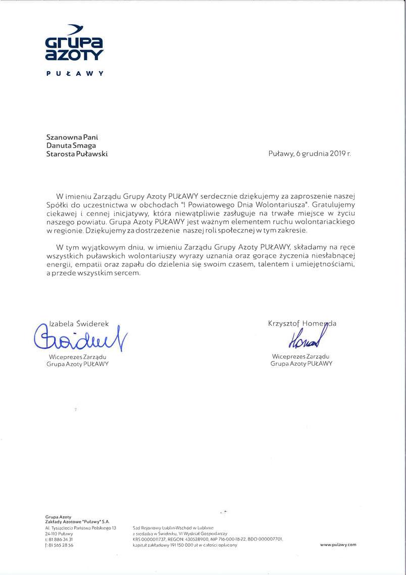 I Powiatowy Dzień Wolontariatu - list gratulacyjny od Zarządu Grupy Azoty ZA Puławy