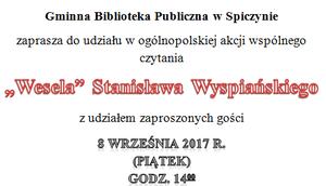 """Biblioteka zaprasza na narodowe czytanie """"Wesela"""""""